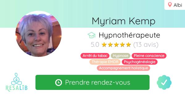 Consulter le profil de Myriam Kemp sur Resalib l'annuaire des médecines douces et des thérapeutes