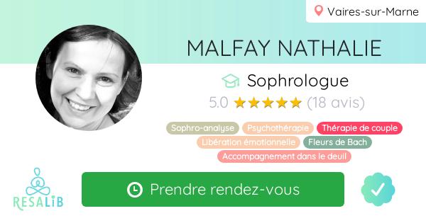 Consulter le profil de MALFAY NATHALIE sur Resalib l'annuaire des médecines douces et des thérapeutes
