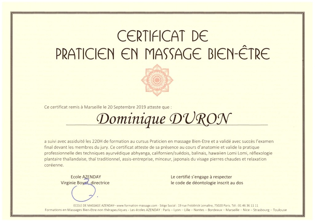 photo diplome Massage Rituel Relaxant